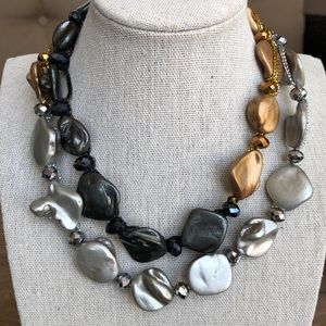 Tri Color Abstract Bead Necklace